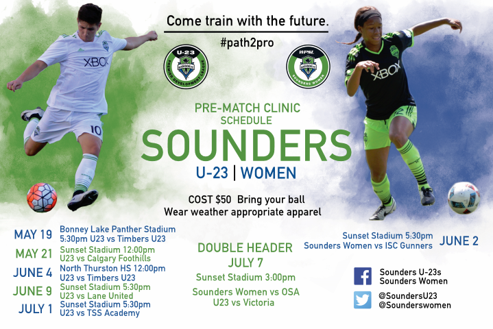 Sounders U23/Sounders Women Announce 2017 Pre-Match Clinic Schedule